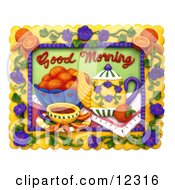 Clay Sculpture Clipart Good Morning Tea And Fruit Scene Royalty Free 3d Illustration