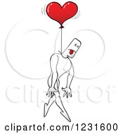 Clipart Of A Man Hung By A Heart Balloon Royalty Free Vector Illustration