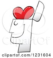 Clipart Of A Happy Man With A Heart Brain Royalty Free Vector Illustration