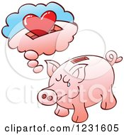 Clipart Of A Lonely Piggy Bank Daydreaming Of A Heart Royalty Free Vector Illustration