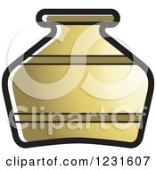 Clipart Of A Gold Pottery Jug Icon Royalty Free Vector Illustration