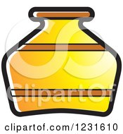 Clipart Of A Yellow Pottery Jug Icon Royalty Free Vector Illustration