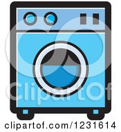 Clipart Of A Blue Washing Machine Icon Royalty Free Vector Illustration by Lal Perera
