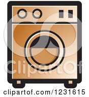 Clipart Of A Brown Washing Machine Icon Royalty Free Vector Illustration by Lal Perera