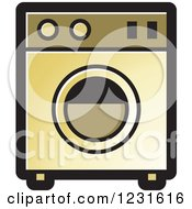 Clipart Of A Gold Washing Machine Icon Royalty Free Vector Illustration