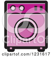 Clipart Of A Pink Washing Machine Icon Royalty Free Vector Illustration by Lal Perera