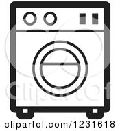 Clipart Of A Black And White Washing Machine Icon Royalty Free Vector Illustration by Lal Perera