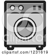 Clipart Of A Gray Washing Machine Icon Royalty Free Vector Illustration by Lal Perera