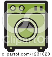 Clipart Of A Green Washing Machine Icon Royalty Free Vector Illustration by Lal Perera