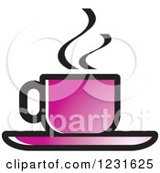 Clipart Of A Purple Steamy Tea Cup And Saucer Icon Royalty Free Vector Illustration