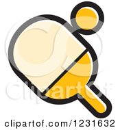Clipart Of A Yellow Table Tennis Paddle And Ball Icon Royalty Free Vector Illustration