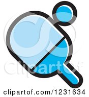 Clipart Of A Blue Table Tennis Paddle And Ball Icon Royalty Free Vector Illustration