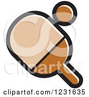 Clipart Of A Brown Table Tennis Paddle And Ball Icon Royalty Free Vector Illustration