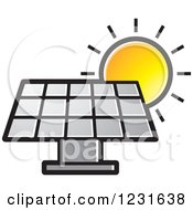 Clipart Of A Sun Over A Silver Solar Panel Icon Royalty Free Vector Illustration by Lal Perera