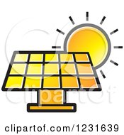 Clipart Of A Sun Over An Orange Solar Panel Icon Royalty Free Vector Illustration by Lal Perera