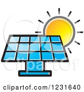 Clipart Of A Sun Over A Blue Solar Panel Icon Royalty Free Vector Illustration