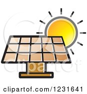 Clipart Of A Sun Over A Brown Solar Panel Icon Royalty Free Vector Illustration by Lal Perera