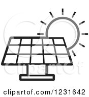 Clipart Of A Black And White Sun Over A Solar Panel Icon Royalty Free Vector Illustration by Lal Perera