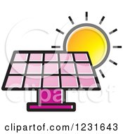 Clipart Of A Sun Over A Pink Solar Panel Icon Royalty Free Vector Illustration by Lal Perera