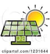 Clipart Of A Sun Over A Green Solar Panel Icon Royalty Free Vector Illustration by Lal Perera