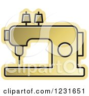 Clipart Of A Gold Sewing Machine Icon Royalty Free Vector Illustration