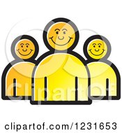Clipart Of A Yellow Happy People Icon Royalty Free Vector Illustration