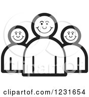 Clipart Of A Black And White Happy People Icon Royalty Free Vector Illustration