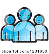 Clipart Of A Blue Happy People Icon Royalty Free Vector Illustration