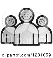 Clipart Of A Gray Happy People Icon Royalty Free Vector Illustration