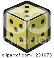 Clipart Of A Green Dice Icon Royalty Free Vector Illustration