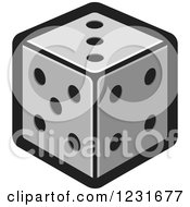 Clipart Of A Gray Dice Icon Royalty Free Vector Illustration