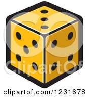 Clipart Of An Orange Dice Icon Royalty Free Vector Illustration