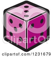 Clipart Of A Purple Dice Icon Royalty Free Vector Illustration