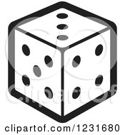 Clipart Of A Black And White Dice Icon Royalty Free Vector Illustration