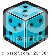 Clipart Of A Blue Dice Icon Royalty Free Vector Illustration