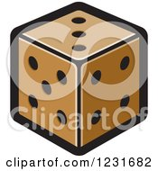 Clipart Of A Brown Dice Icon Royalty Free Vector Illustration