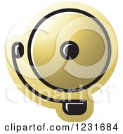 Clipart Of A Gold Electric Bell Icon Royalty Free Vector Illustration