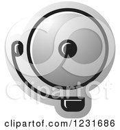 Clipart Of A Silver Electric Bell Icon Royalty Free Vector Illustration