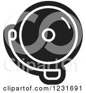 Clipart Of A Black And White Electric Bell Icon 2 Royalty Free Vector Illustration