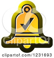 Clipart Of A Yellow Bell With A Check Mark Icon Royalty Free Vector Illustration
