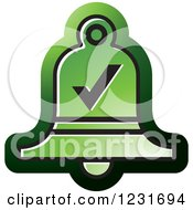 Clipart Of A Green Bell With A Check Mark Icon Royalty Free Vector Illustration by Lal Perera