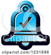 Clipart Of A Blue Bell With A Check Mark Icon Royalty Free Vector Illustration