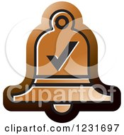 Clipart Of A Brown Bell With A Check Mark Icon Royalty Free Vector Illustration