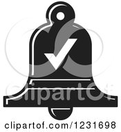Clipart Of A Black And White Bell With A Check Mark Icon Royalty Free Vector Illustration
