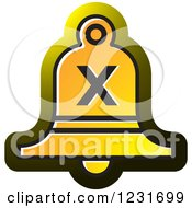 Clipart Of A Yellow Bell With A Cross X Icon Royalty Free Vector Illustration by Lal Perera