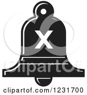 Clipart Of A Black And White Bell With A Cross X Icon Royalty Free Vector Illustration