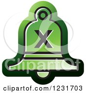 Clipart Of A Green Bell With A Cross X Icon Royalty Free Vector Illustration by Lal Perera