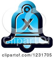 Clipart Of A Blue Bell With A Cross X Icon Royalty Free Vector Illustration by Lal Perera