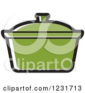 Clipart Of A Green Pot Icon Royalty Free Vector Illustration by Lal Perera