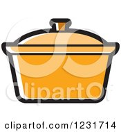 Clipart Of An Orange Pot Icon Royalty Free Vector Illustration